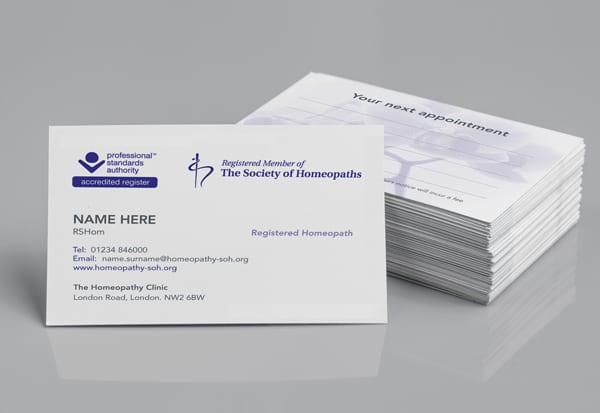 Appointment cards – Society of Homeopaths